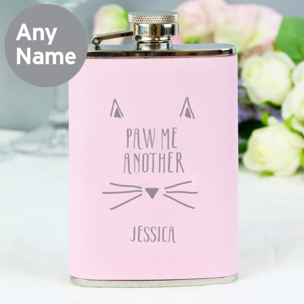 Paw Me Another Pink Hip Flask