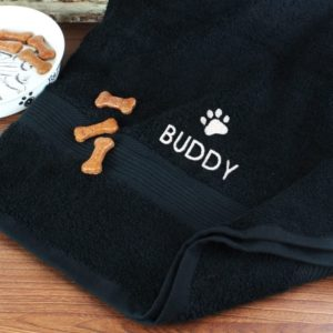 Pet Paw Black Bath Towel