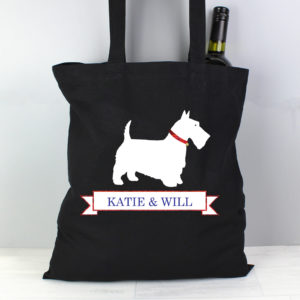 Scottie Dog Black Cotton Bag