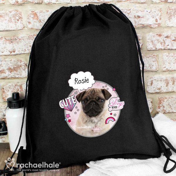 Rachael Hale Doodle Pug Black Swim & Kit Bag