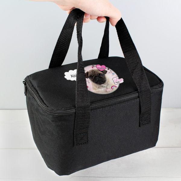 Rachael Hale Doodle Pug Black Lunch Bag