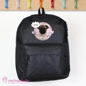 Rachael Hale Doodle Pug Black Backpack