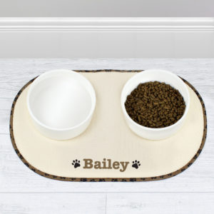 Brown Paw Print Pet Bowl Placemat