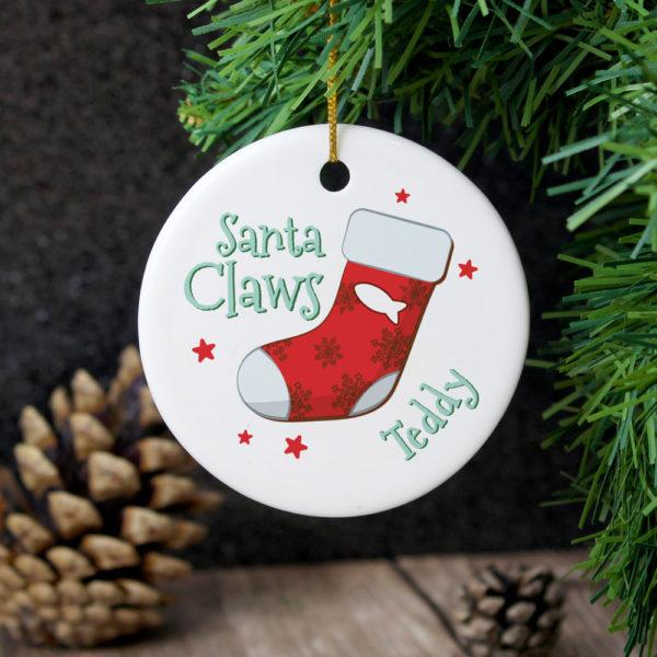 Santa Claws Round Ceramic Decoration