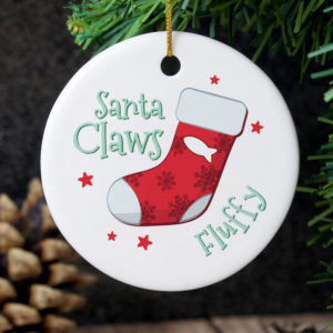 Santa Claws Round Ceramic Decoration