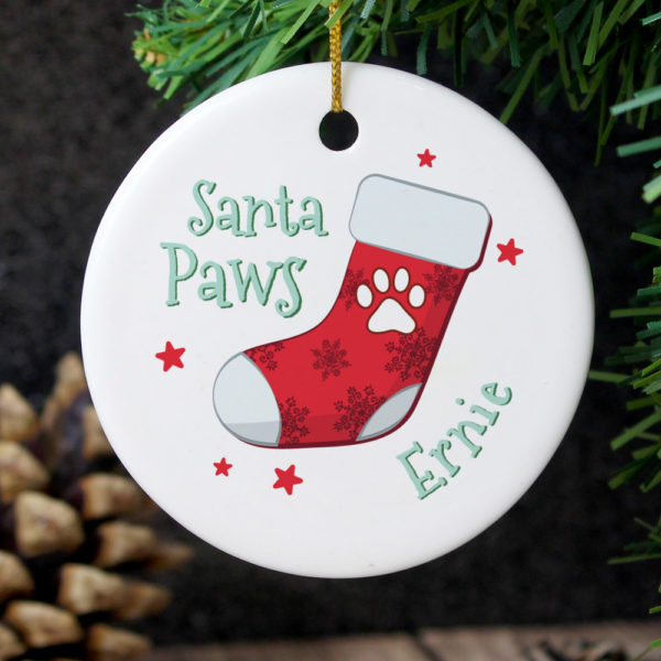 Santa Paws Round Ceramic Decoration