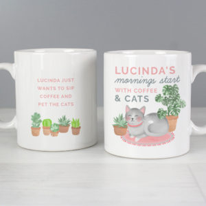 """""Mornings Start with Cats and"""" Mug"
