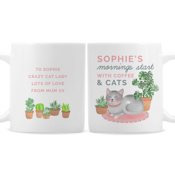 """""""""""Mornings Start with Cats and"""""""" Mug"""