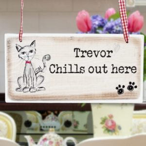 Cat Wooden Sign