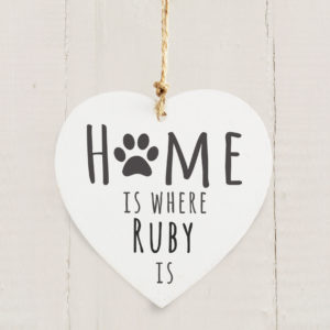 'Home is Where' Pet Wooden Heart Decoration