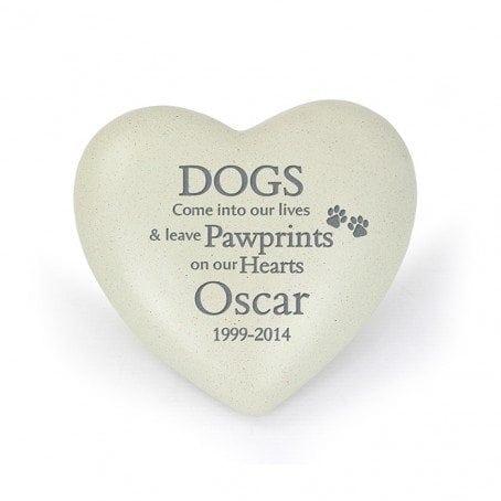 Dog Pawprints Heart Memorial