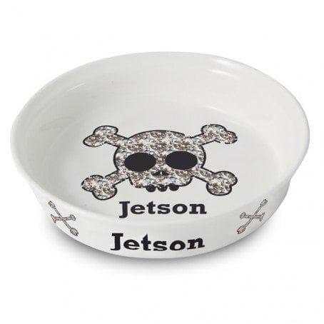 Bling Skull Dog Bowl
