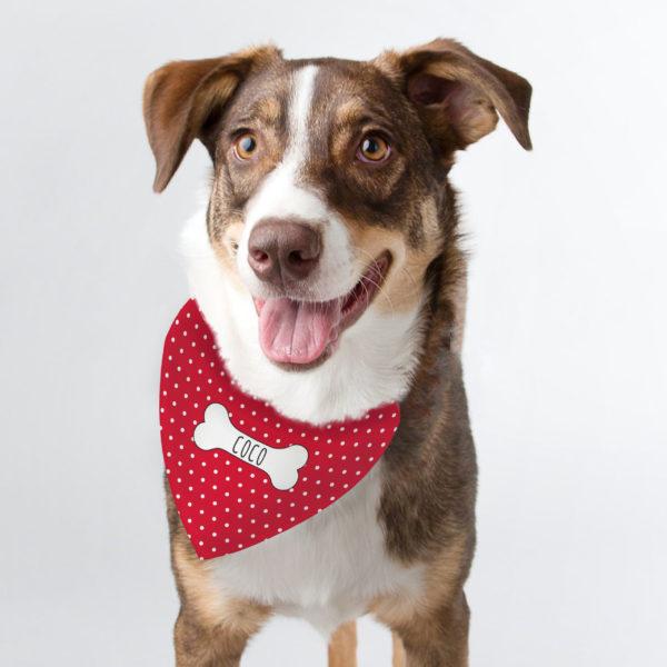 Personalised Red Polka Dot Dog Bandana